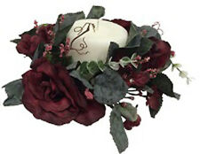 Candle Rings ~ BURGUNDY ~ Roses Silk Wedding Flowers Centerpieces Wreath Unity