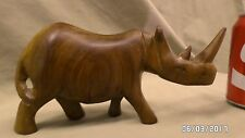 "2116Mj Hand Carved Wood Rhinoceros 8"" Long 4"" Tall Beautiful !"
