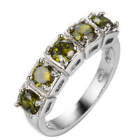 New Arrival Fashion Natural Olive Peridot Gemstone Silver Woman Ring Size 6-10