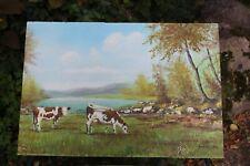Vaches Peinture Huile Tableau Morvan Bourgogne HANDED OIL PAINTING COWS UNIQUE