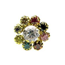Precious Multicolor CZ Piercing Nose stud Pin Solid Real 14k Yellow Gold