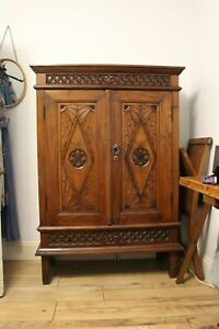 Antique Oriental One Of Kind Handmade Solid carved Wood Cupboard Cabinet