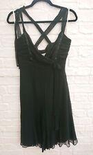 Karen Millen Pure Silk Black Dress Size 10 12 Floaty LBD Party Evening Wedding