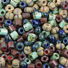 Exclusive!!! 5mm Aged Stripe Tile and Rocaille Picasso Mix Czech seed beads 30g!