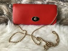 NWT COACH Envelop Chain Wallet WOC crossbody Purse in Red & Pink Ruby F53308