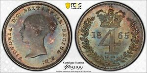 1865 Great Britain Victoria Fourpence MS65 PCGS