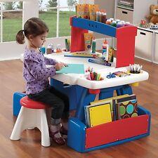 Kids Play Table w Storage Stools Large Surface Plastic Art Workstation Creative