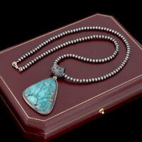 Antique Vintage Sterling Silver Native Navajo Turquoise Beaded Necklace 40.1g