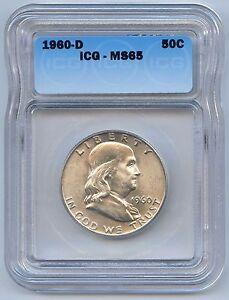 High Grade 1960-D 50C Franklin Silver Half Dollar ICG Graded MS 65. Lot #2482