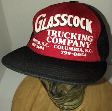 VTG GLASSCOCK TRUCKING COMPANY 80s Red Black Trucker Hat Cap Snapback S CAROLINA
