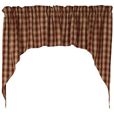 "Barn Red Lexington Country Cottage Unlined Window Swags 72"" x 36"""