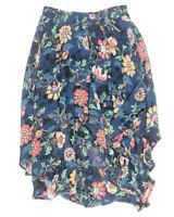 TCEC Womens L Asymmetrical Skirt Blue Printed Midi Knee Length Stretchy