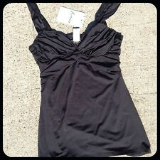 new $78 MARCIANO guess black RUCHED bust TOP shirt M