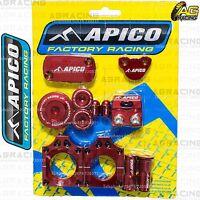 Apico Bling Pack Red Blocks Caps Plugs Clamp Covers For Honda CRF 250R 2004-2008