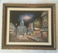 Impressionist Paris Night Street Scene Oil on Canvas Board Framed SIGNED 29x25""