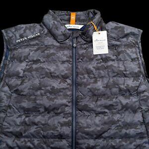 Peter Millar Men's Iron Gray Camo Hyperlight Lightweight Zip Vest L, XL $168