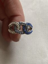 Beautiful Sterling Silver Enamel Blue & White Stone Ring - Size 9