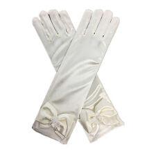 Elegant Pearl  Bow Flower Gril's Dress Long White Gloves for Kids Baby Girl