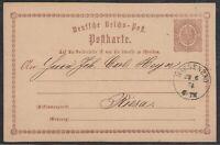 32542) WIESENBAD Sachsen NDP-Stempel 1874 auf Postkarte nach Riesa
