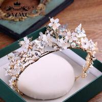 Baroque Butterfly Bridal Tiara Gold Headband Wedding Hair Accessories Prom Crown