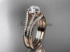 14kt rose gold diamond unique engagement set, wedding ring ADER108S