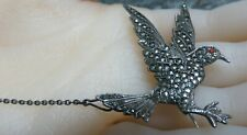 Large Solid Silver  & Marcasite Swooping Bird Brooch / Cloak Pin.  xaod
