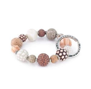 NEW JILZARAH Handmade Clay Beads SAHARA BROWN CREAM 15mm SMALL Wrist Keychain