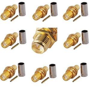 RP SMA Female Crimp Connector (female-male pin) x 10 RG316 RG174 cable     664