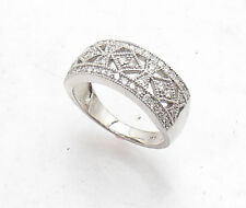 Size 7 Real Natural Diamond Filigree Cut-Out Ring REAL Solid 14K White Gold