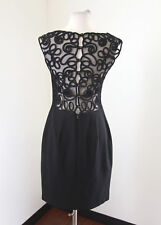 Laundry by Shelli Segal Black Mesh Embroidered Open Back Cocktail Dress LBD Sz 8