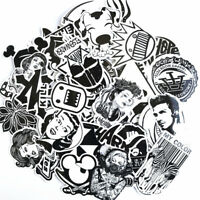 100pcs Black White Skateboard Stickers Fit Laptop Sticker Luggage Car Decal Pack