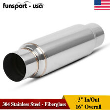"Universal 3"" In/Out Exhaust Muffler / Resonator 304 Stainless Steel - Fiberglass"
