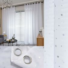 Star Lined Voile Curtains - Eyelet Curtains - Sold As A Pair - Ready Made