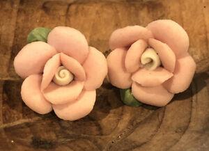 "1"" 1928 Jewelry Pink Porcelain Elegant Victorian Rose Post Earrings"