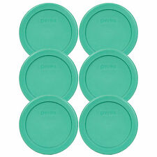 Pyrex 7202-PC 1 Cup Green Round Plastic Lid 6 Pack for 1 Cup Glass Bowl New
