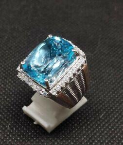 Natural Blue Topaz Gemstone 14K White Gold Men's Ring SR7683