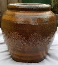 Chinese Glazed Earthenware Egg Pot Jar Planter Jardiniere Dragon