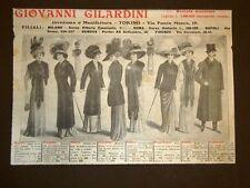 Pubblicità del 1909 Abbigliamento per uomo e donna Giovanni Gilardini Torino