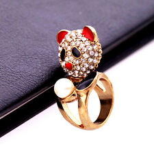 Gold tone crystal enamel panda with a pearl charm ring