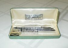 "VINTAGE "" FLORENTINE "" PEN & PENCIL WRITING INSTRUMENT SET STERLING SILVER INLAY"