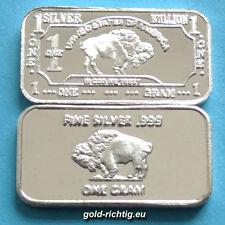 1 grammi Argento Lingotto-bufali (argento finemente Argento Silver Buffalo Lingotto) NUOVO