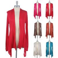 Open Front Draped Long Sleeve Cardigan Ruched Back Solid Plain Easy Wear Rayon
