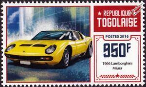 1966 LAMBORGHINI MIURA Supercar / Sports Car Automobile Stamp (2016 Togo)