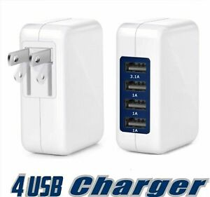 15W 3.1A  High Speed 4 Port USB Wall Charger For IPhone 8, 7, 6  Travel Charger