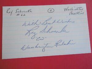 "Ray Schoenke - Autographed 3"" X 5"" Index Card - Washington Redskins - guard"
