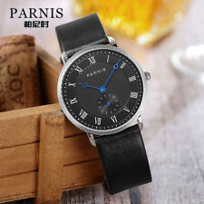 40mm Parnis Men's Casual Quartz Watch Black Dial Small Second Waterproof Gift