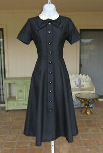 VTG 1950s HARCO ORIGINALS BLACK DRESS POLY LINEN LUCITE CRYSTAL BUTTONS WHITE
