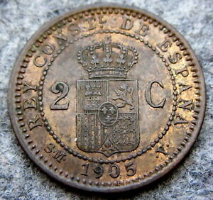 SPAIN ALFONSO XIII 1905 2 CENTIMOS
