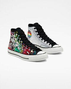 Converse Chuck 70 Hi Pride Sequined Sneaker 167755C White/Black/University Red