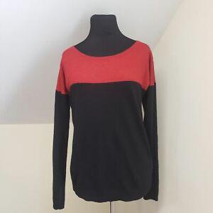 Calvin Klein Size L Women's Red Black Merino Wool Blend Sweater Pullover